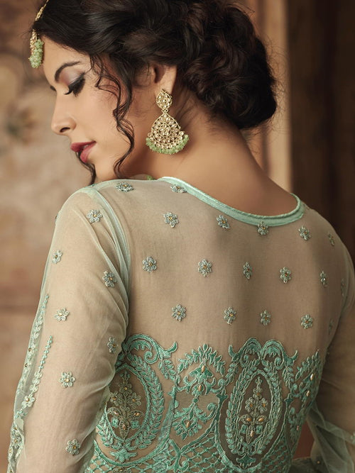 Aqua Blue  Party Wear Sharara Suit Online