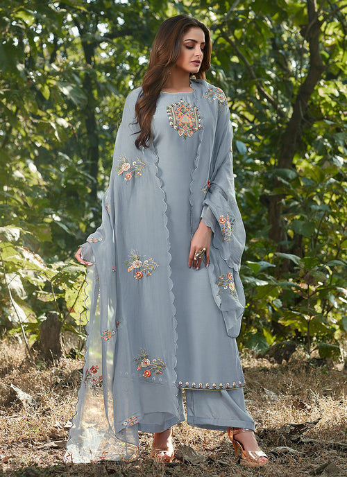 Indian Clothes - Blue Embroidered Cotton Silk Pants Style Suit