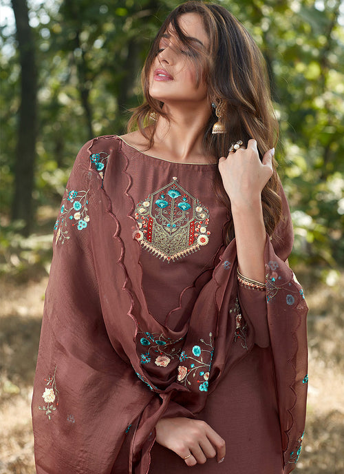 Brown Embroidered Cotton Silk Pants Style Suit, Salwar Kameez