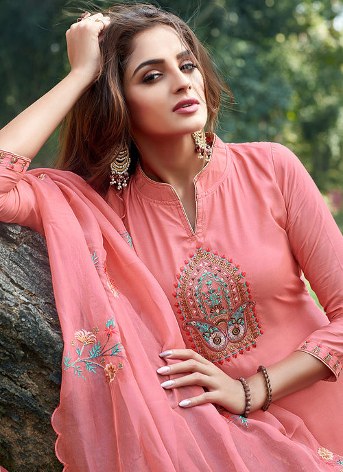 Peach Embroidered Cotton Silk Pants Style Suit, Salwar Kameez