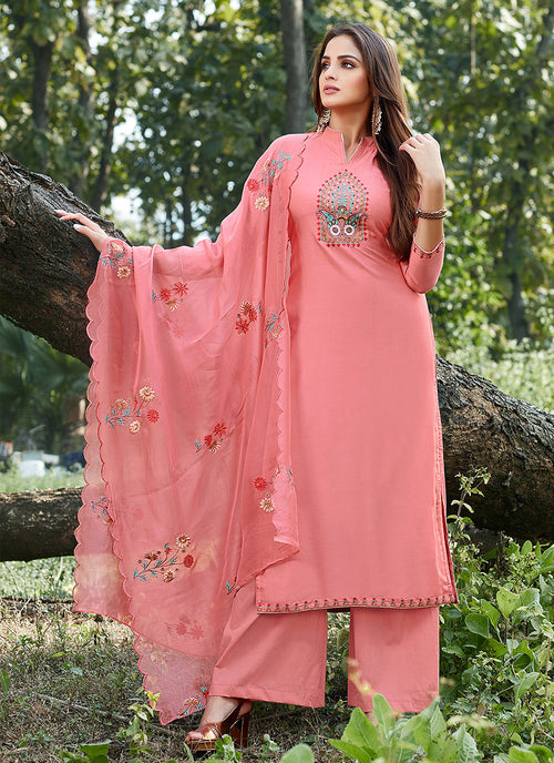 Indian Clothes - Peach Embroidered Cotton Silk Pants Style Suit