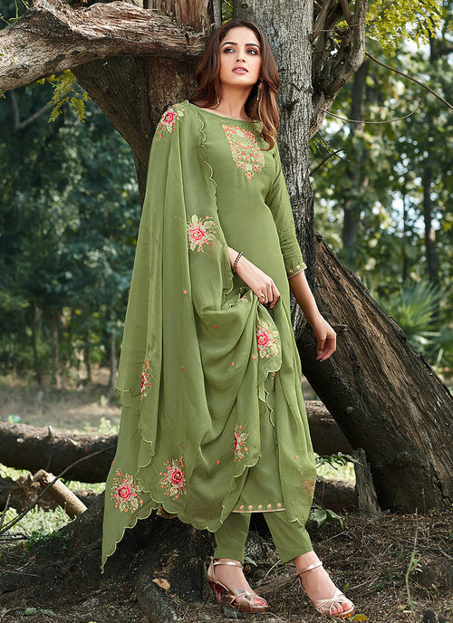 Indian Clothes - Green Embroidered Cotton Silk Pants Style Suit