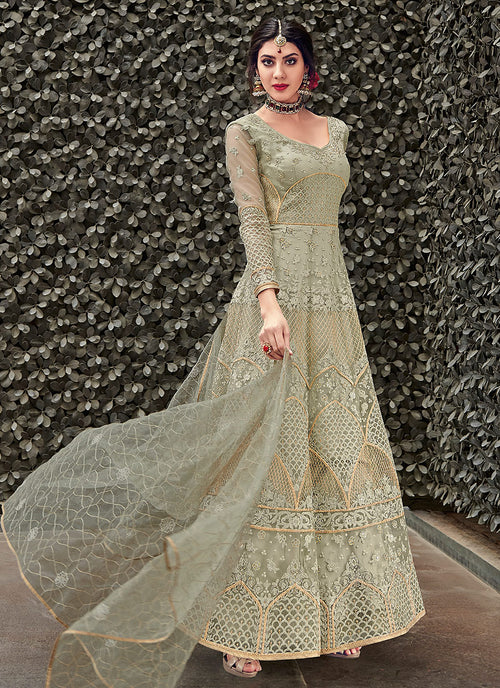 Light Green Designer Anarkali Gown