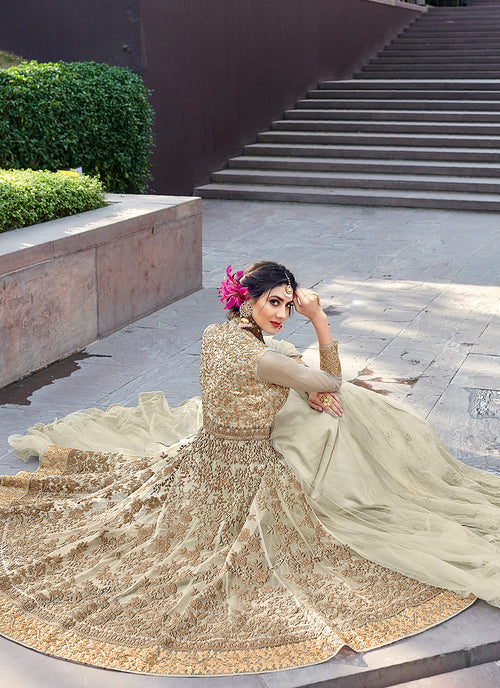 Off White Golden Designer Anarkali Gown