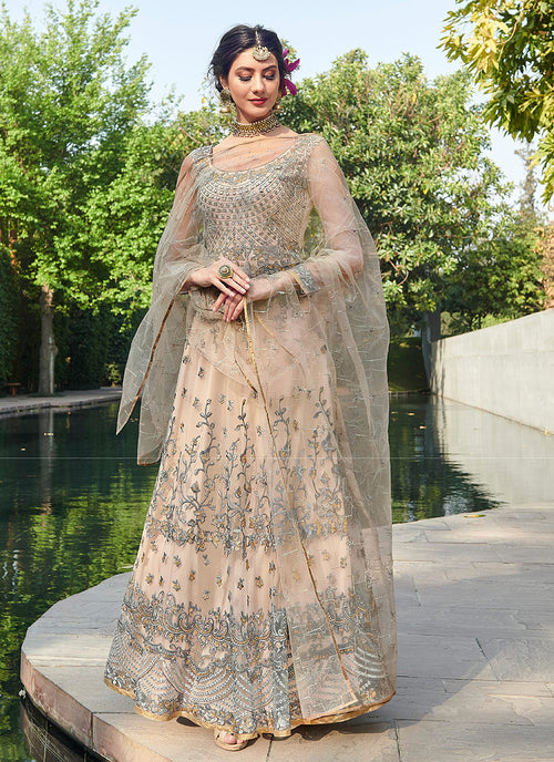 Baby Pink And Grey Designer Anarkali Gown