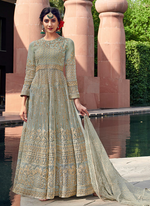 Teal Blue Golden Designer Anarkali Gown