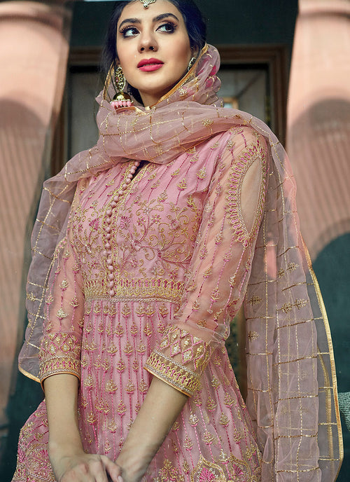 Light Pink Overall Zari Embellished Designer Anarkali Gown