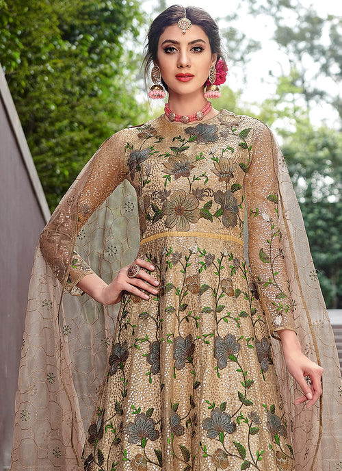 Beige And Pink Golden Designer Anarkali Gown