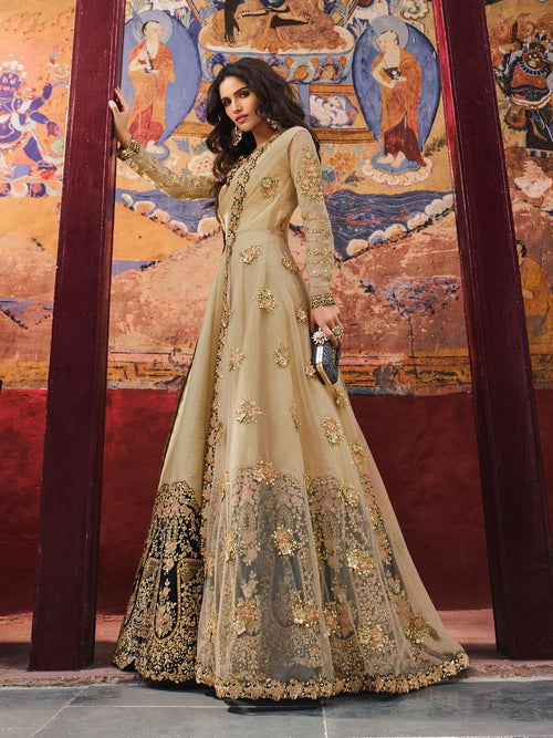 Golden With Black Designer Anarkali Pant Suit