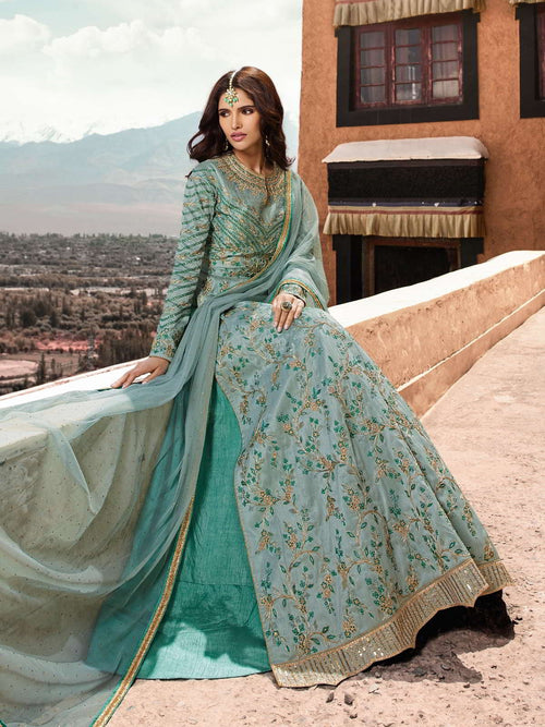 Light Blue Slit Style Anarkali Lehenga Suit