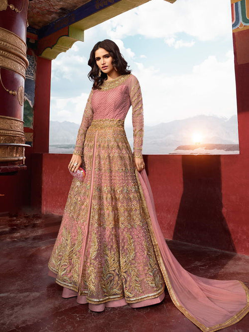 Light Pink Golden Embroidered Slit Style Anarkali Lehenga Suit
