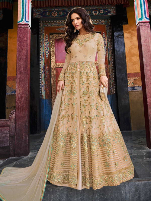 Peach Golden Multi Embroidered Slit Style Anarkali Lehenga Suit