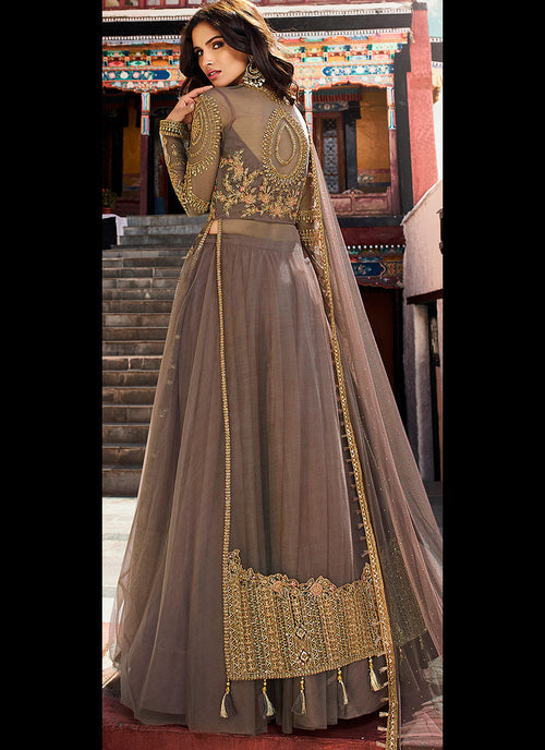 Mauve With Golden Embroidered Slit Style Designer Lehenga Suit