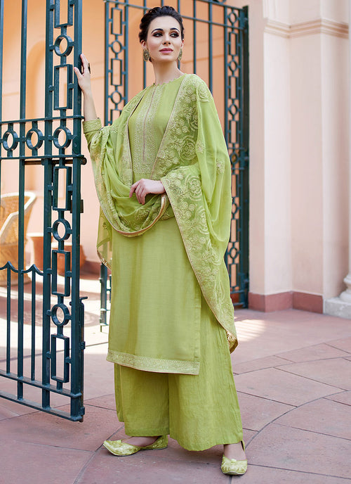 Light Green Kashmiri Embroidered Palazzo Suit