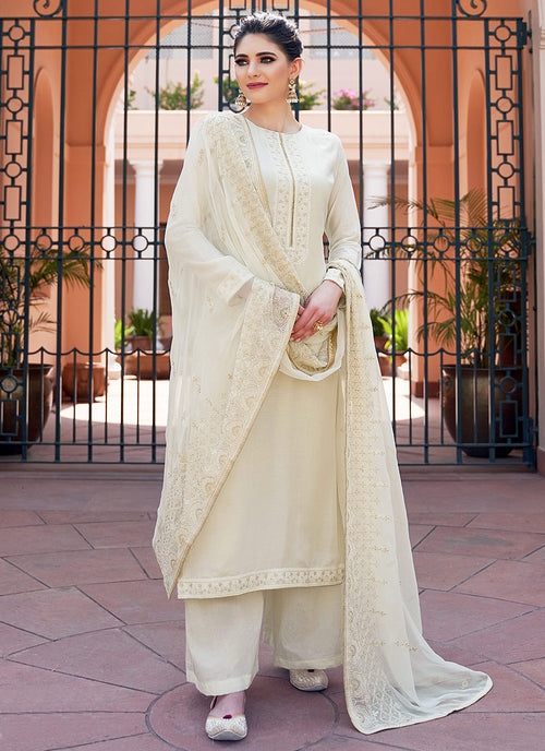 Off White Kashmiri Embroidered Palazzo Suit
