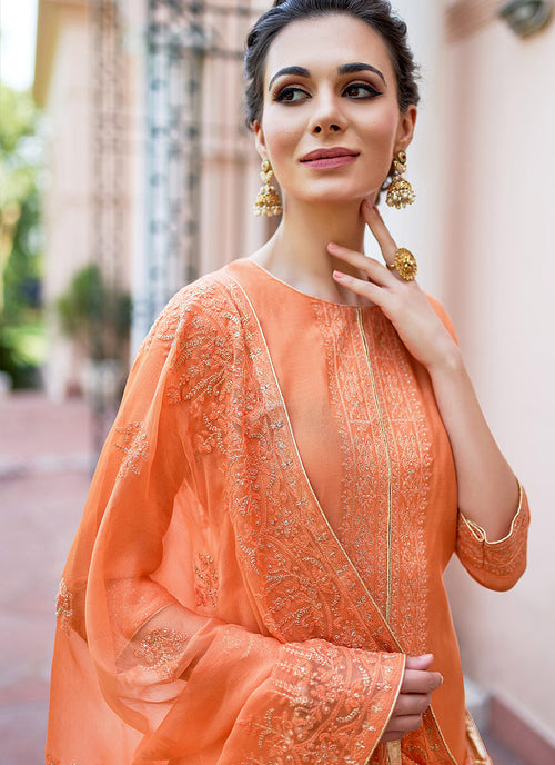 Orange Kashmiri Embroidered Palazzo Suit