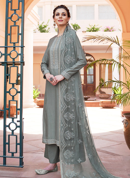 Deep Grey Kashmiri Embroidered Palazzo Suit