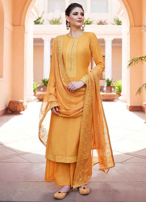 Yellow Kashmiri Embroidered Palazzo Suit