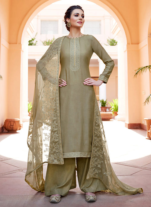 Olive Green Kashmiri Embroidered Palazzo Suit