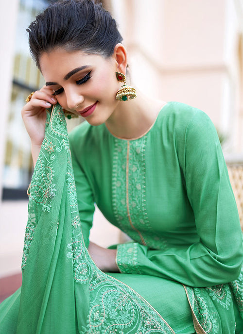 Green Kashmiri Embroidered Palazzo Suit