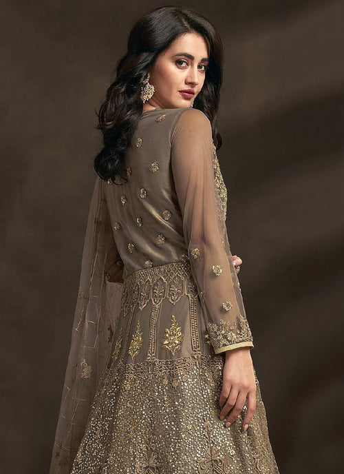 Light Brown Designer Embroidered Anarkali Suit, Salwar Kameez