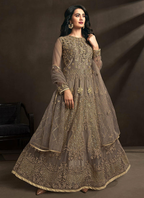 Indian Clothes - Light Brown Designer Embroidered Anarkali Suit