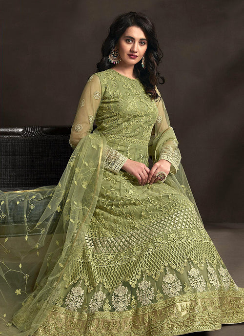 Light Green Designer Embroidered Anarkali Suit, Salwar Kameez