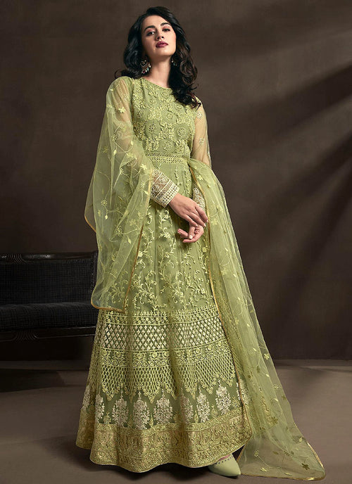 Light Green Designer Anarkali Suit