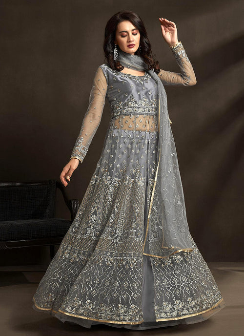 Indian Clothes - Grey Golden Embroidered Anarkali Lehenga Suit