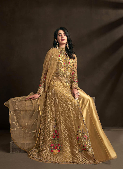 Golden Multi Embroidered Anarkali Lehenga Suit, Salwar Kameez