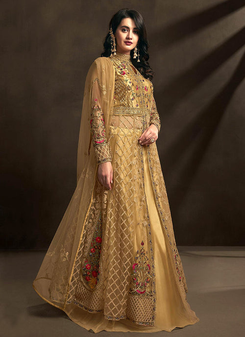 Indian Clothes - Golden Multi Embroidered Anarkali Lehenga Suit
