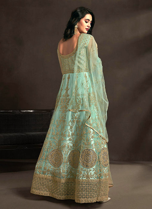 Teal Blue Designer Embroidered Anarkali Suit, Salwar Kameez