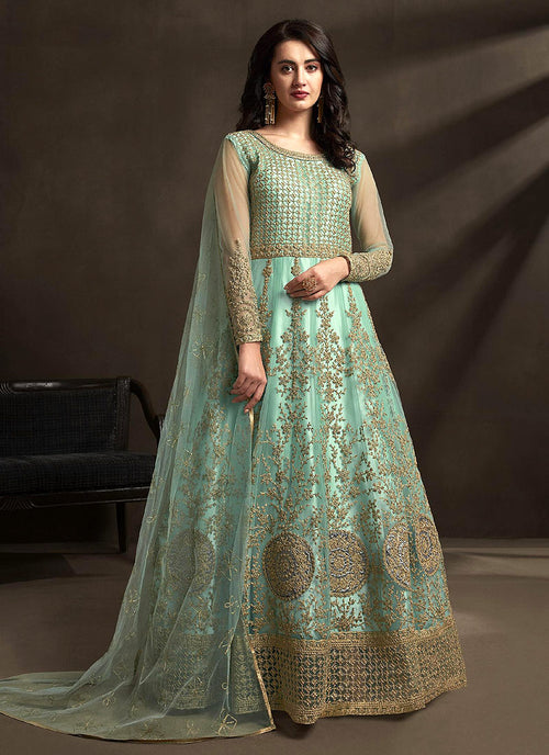 Indian Clothes - Teal Blue Designer Embroidered Anarkali Suit