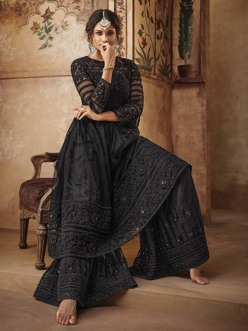 Black Party Wear Sharara Suit Online
