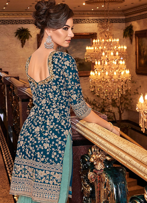 Indian suit - Blue And Turquoise Palazzo Suit
