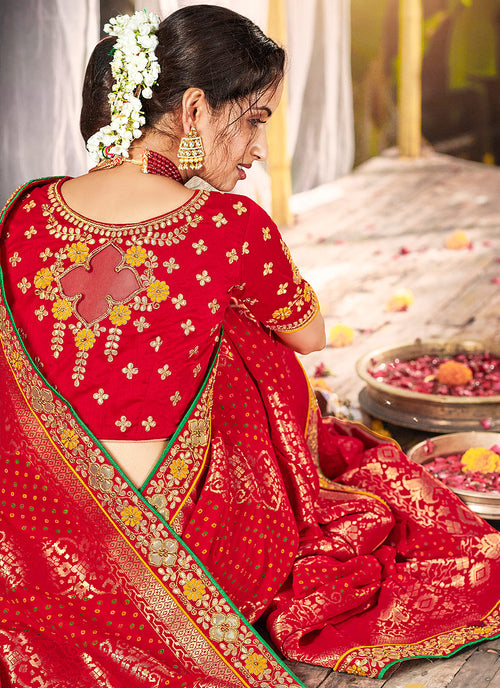 Indian Saree - Bridal Red Silk Saree In usa uk canada