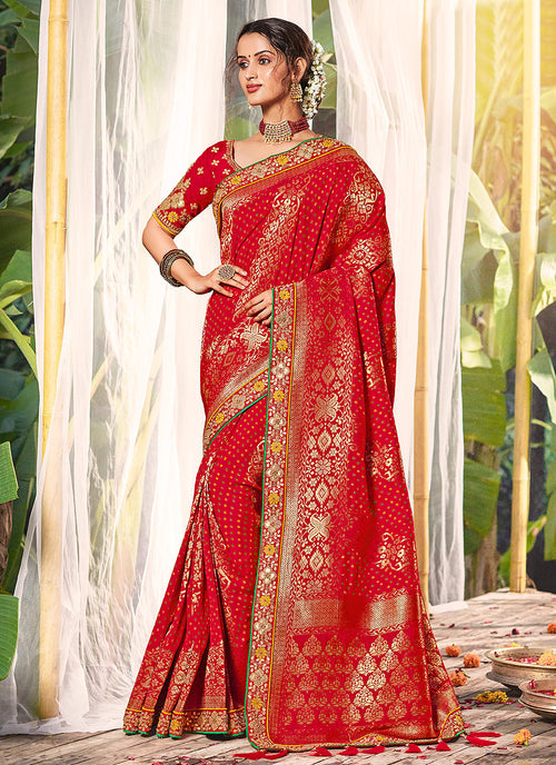 Bridal Red Silk Saree