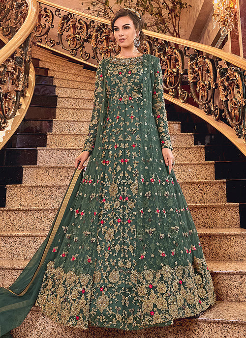 Indian Clothes - Dark Green Embroidered Anarkali Suit