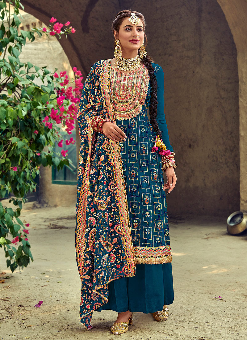 Turquoise Multicoloured Embroidered Georgette Palazzo Suit