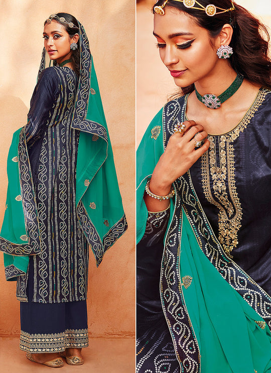 Blue And Green Ethnic Embroidered Festive Palazzo Suit