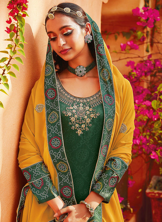 Green And Yellow Ethnic Embroidered Festive Palazzo Suit