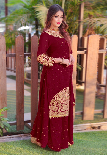Golden Embroidery Sharara Suit