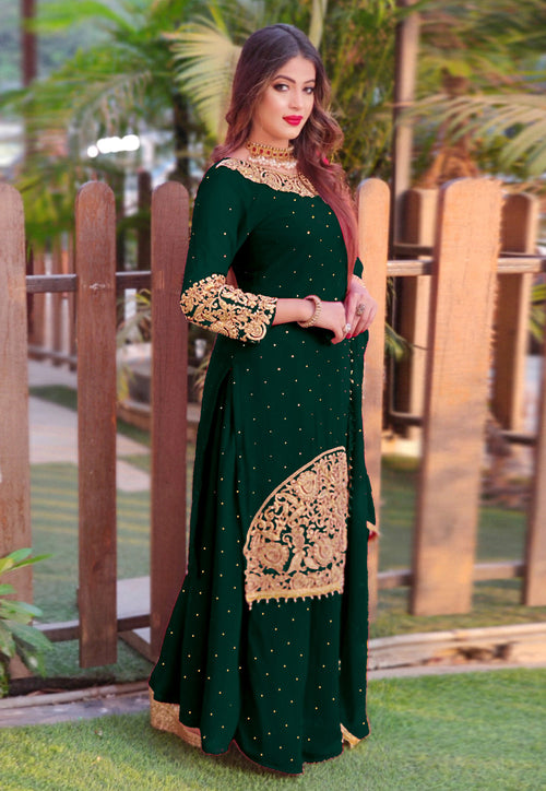 Green Golden Embroidered Sharara Suit In usa uk canada