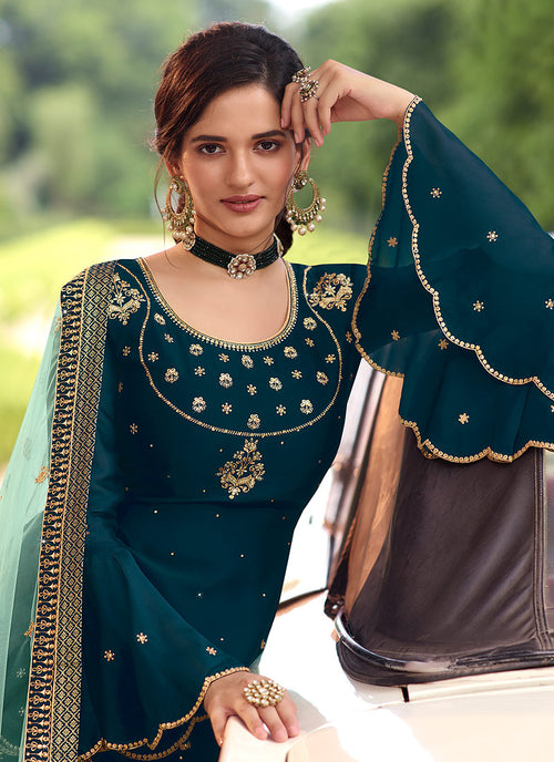 Indian Clothes - Turquoise Embroidered Sharara Suit