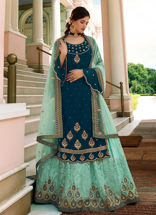 Turquoise Sharara Suit