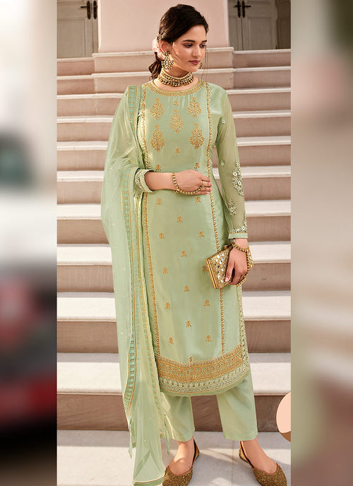 Indian Clothes - Light Green Traditional Sharara Suit