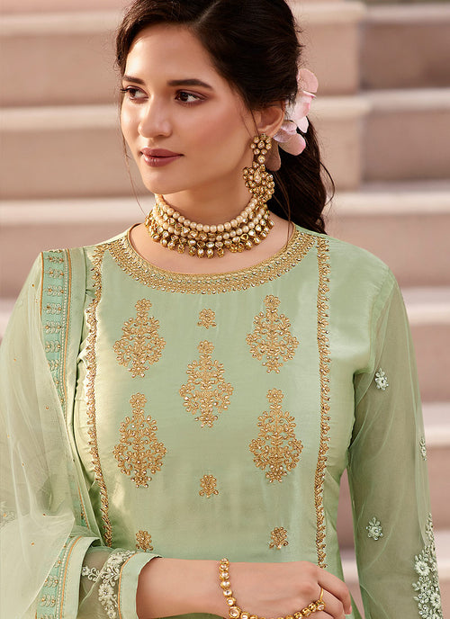 Indian Suits - Light Green Traditional Sharara Suit