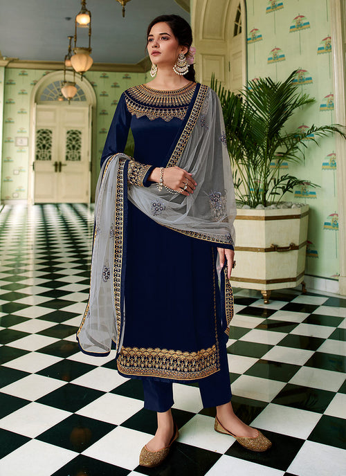 Indian Clothes - Blue Two Tone Traditional Sharara Suit