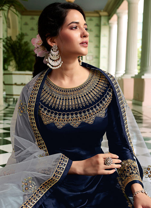 Indian Dresses - Blue Sharara Suit