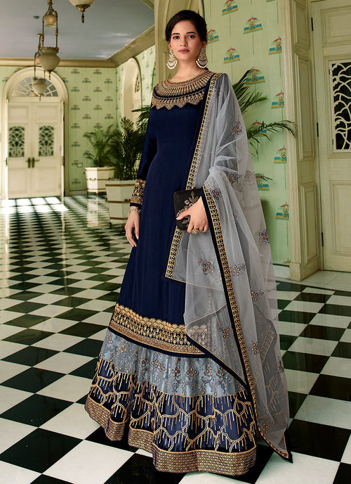 Blue Two Tone Traditional Sharara Suit